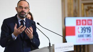 """Le Premier ministre Edouard Philippe présente les conclusions du """"Grenelle contre les violences conjugales"""", lundi 25 novembre. (STEPHANE DE SAKUTIN / AFP)"""