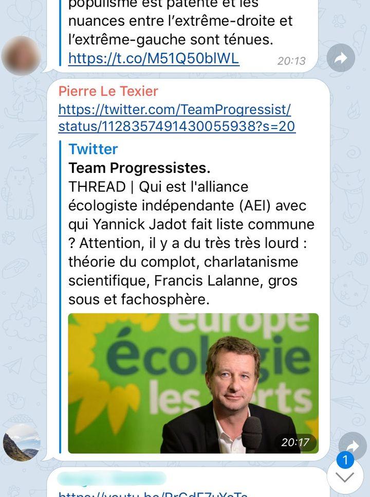 """Capture d'écran de la boucle """"Riposte En Marche !"""", sur laquelle élus, militants et salariés de LREM signalent les contenus de campagne à partager sur les réseaux sociaux. (FRANCEINFO)"""