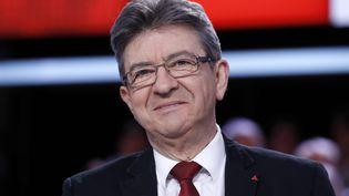 Jean-Luc Mélenchon sur le plateau de France 2, le 23 février 2017. (PATRICK KOVARIK / AFP)