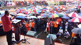 Le Premier ministre mauricien sortant Pravind Jugnauth en meeting le 3 novembre 2019 à Vacoas, l'une des plus grandes villes de l'île Maurice. (BEEKASH ROOPUN / L'EXPRESS MAURICE)