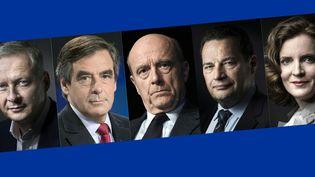 Les sept candidats à la primaire à droite. De gauche à droite : Nicolas Sarkozy,Bruno Le Maire, François Fillon, Alain Juppé, Jean-Frédéric Poisson, Nathalie Kosciusko-Morizet, Jean-Francois Copé. (JOËL SAGET / KENZO TRIBOUILLARD / MARTIN BUREAU / LIONEL BONAVENTURE / AFP)