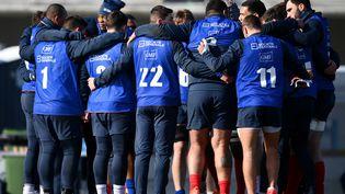Les joueurs du XV de France à l'entraînement à Marcoussis, le 11 février 2021. (FRANCK FIFE / AFP)