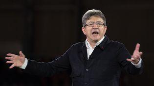Jean-Luc Mélenchon lors d'un meeting à Lille (Nord), le 12 avril 2017. (KRISTINA AFANASYEVA / SPUTNIK / AFP)