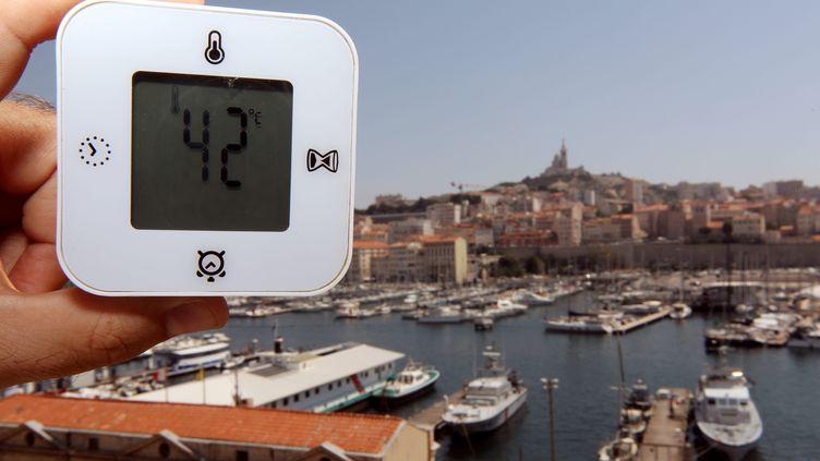 Une température (au soleil) sur le Vieux Port de Marseille, le 1er août 2018. (MAXPPP)