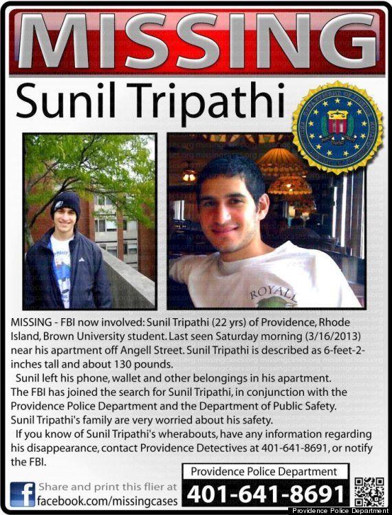 L'avis de recherche pour retrouver Sunil Tripathi. (© DR)