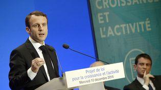 Le ministre de l'Economie, Emmanuel Macron, présente son projet de loi, le 10 décembre 2014 à l'Elysée. (LIONEL BONAVENTURE / AFP)