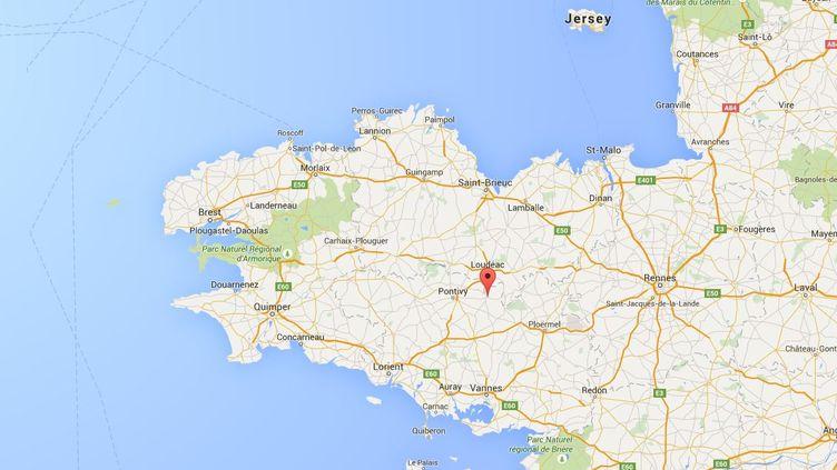 Capture d'écran de Google maps pointant Rohan (Morbihan) où 4 adolescents sont morts dans un accident de voiture, le 2 août 2015. ( GOOGLE MAPS)