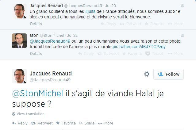 Capture d'écran de l'échange entre @JacquesRenaud49 et @StonMichel, sur Twitter, réalisée mercredi 23 juillet. (TWITTER / FRANCETV INFO)