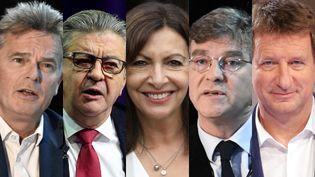 Les cinq candidats déclarés à gauche pour l'élection présidentielle de 2022 : Fabien Roussel (PCF), Jean-Luc Mélenchon (LFI), Anne Hidalgo (PS), Arnaud Montebourg et Yannick Jadot (EELV). (AFP)