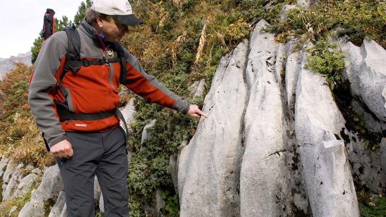 Un guide sur une formation géologique. (PHILIPPE ROY / PHILIPPE ROY)