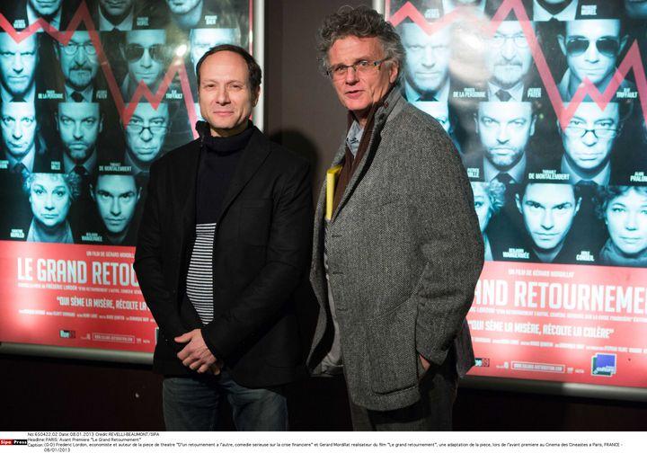"""Frederic Lordon, auteur de la piece de theatre """"D'un retournement a l'autre""""et Gerard Mordillat realisateur du film """"Le grand retournement"""", lors de l'avant premiere au Cinema des Cineastes a Paris le 1er août 2013. (REVELLI BEAUMONT/SIPA)"""