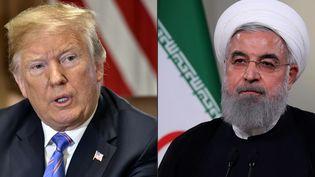 Le président américain Donald Trump (gauche) et son homologue iranienHassan Rohani. (NICHOLAS KAMM / IRANIAN PRESIDENCY / AFP)