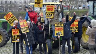 Des opposants au projet de Notre-Dame-des-Landes manifestentcontre le nouveau aéroport. (LOIC VENANCE / AFP)