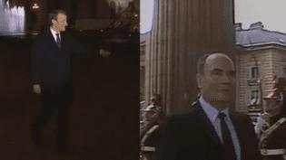 Certains observateurs ont comparé la mise en scène d'Emmanuel Macron au Louvre avec le passage de François Mitterrand au Panthéon, en mai 1981. (FRANCEINFO / INA)