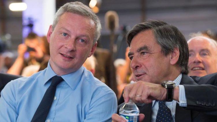 Bruno Le Maire et François Fillon, le 30 mai 2015 à Paris lors du congrès fondateur du parti. (WITT/ SIPA)
