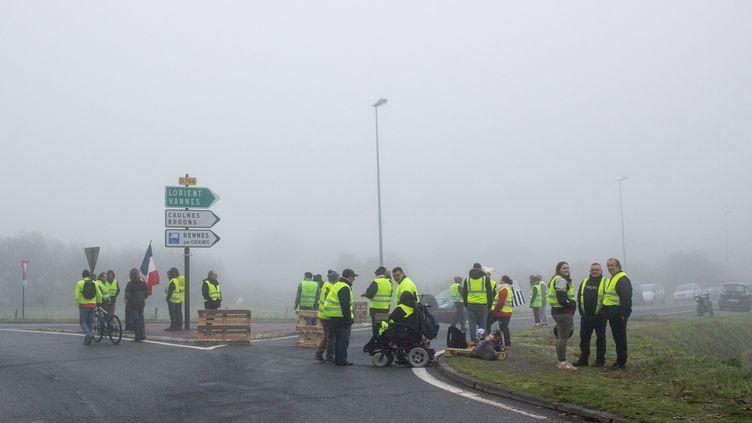 """Des """"gilets jaunes"""" dans région de Dinan (Côtes-d'Armor), le 17 novembre 2018. (MARTIN BERTRAND / HANS LUCAS / AFP)"""