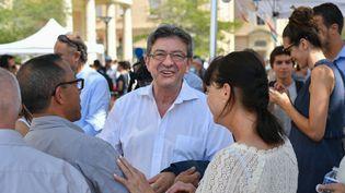 Le député des Bouches-de-Rhône Jean-Luc Mélenchon lors des journées d'été de la France insoumise, le 25 août à Marseille. (BERTRAND LANGLOIS / AFP)