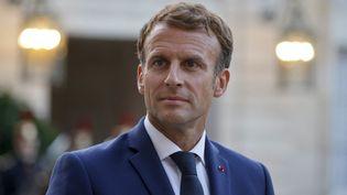Le président Emmanuel Macron à l'Elysée, le 31 août 2021. (LUDOVIC MARIN / AFP)