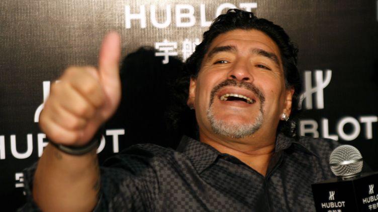 Diego Maradona, le 17 janvier 2012 à Shanghai (Chine). (FA IUO  / IMAGINE CHINA / AFP)