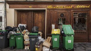 Des poubelles non-collectées dans le quartier de Saint-Michel, à Paris, le 10 juin 2016. (BRAVO-ANA / ONLY FRANCE / AFP)
