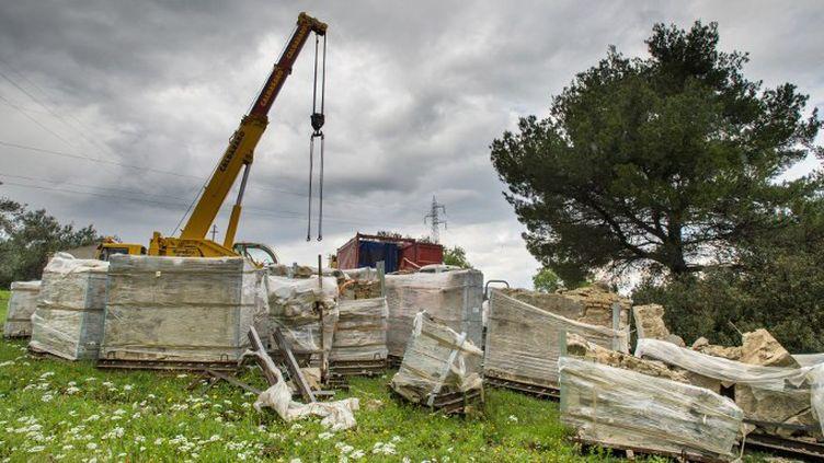 Les pièces détachées de l'église de la Madonna del Carmine à Montegiordano en Italie sont de retour.  (ALFONSO DI VINCENZO / AFP)