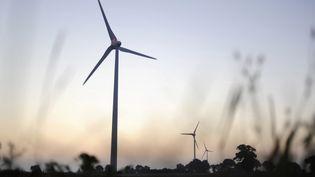 Une éolienne à Freigné (Maine-et-Loire), le 11 septembre 2014. (JEAN-SEBASTIEN EVRARD / AFP)