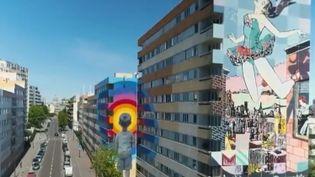 Image aérienne des fresques peintes dans le 13e arrondissement de Paris. (FRANCE 2)