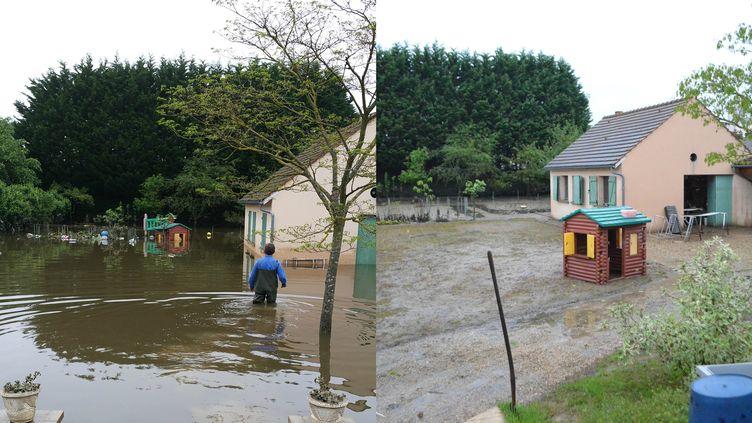 A gauche, Rémy Hautain tente d'accéder à son atelier à Nemours (Seine-Maritime) pendant les inondations, le 2 juin 2016. A droite, le jardin après la décrue, le 20 juin 2016. (MATHILDE HAUTAIN / MARIE-VIOLETTE BERNARD / FRANCETV INFO)