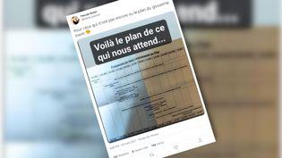 """Untweet montrant le""""programme"""" du haut-commissariat au Planquiannonce toute une série de mesures prévues par le gouvernement (CAPTURE D'ÉCRAN TWEET)"""