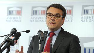 Thomas Thévenoud, député de Saône-et-Loire, lors d'une conférence de presse à l'Assemblée nationale,à Paris, le 24 avril 2014. (ERIC PIERMONT / AFP)