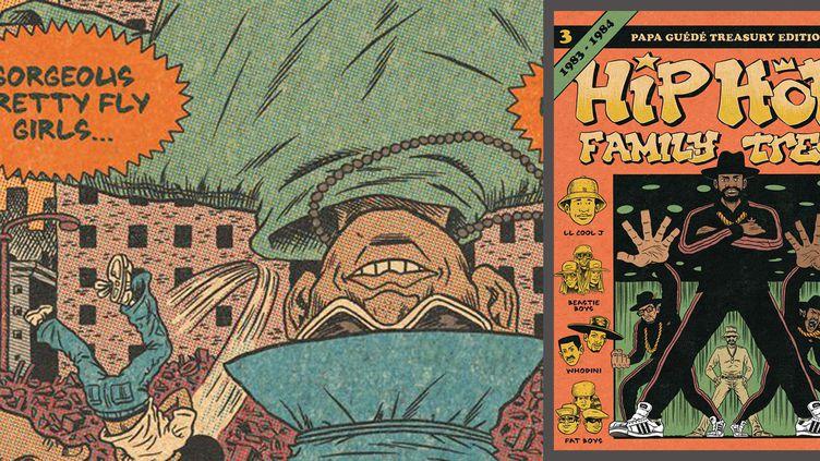 Un strip du tome 3 de Hip Hop Family Tree et la couverture.  (Ed Piskor / Editions Papa Guédé)