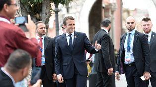 Emmanuel Macron, le 27 mai 2017, àTaormina, en Sicile (Italie), à l'occasion du sommet du G7. (STEPHANE DE SAKUTIN / AFP)