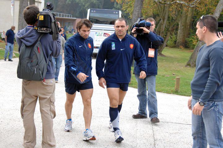 Christophe Dominici et Raphaël Ibañez à Marcoussis en 2007 (MAXPPP TEAMSHOOT)