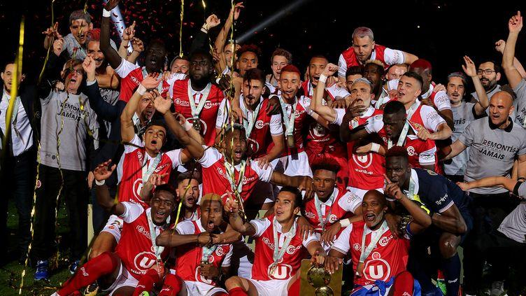 Sur la lancée de son titre de champion de Ligue 2, le Stade de Reims vise un peu plus haut que le maintien.  (FRANCOIS NASCIMBENI / AFP)