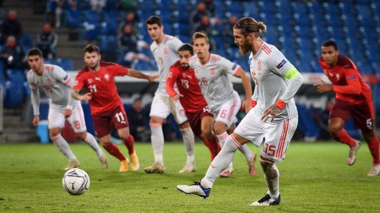 Sergio Ramos n'a pas fêté sa 177e sélection, un record en Europe, de la plus belle des manières (FABRICE COFFRINI / AFP)