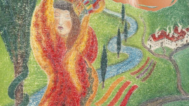"""Première de couverture des """"Contes de Perrault illustrés par l'art brut"""" (détail),Joseph Schneller, Dragon solaire, vers 1921 (Editions Diane de Selliers / Joseph Schneller, Dragon solaire, vers 1921 © Collection Prinzhorn)"""