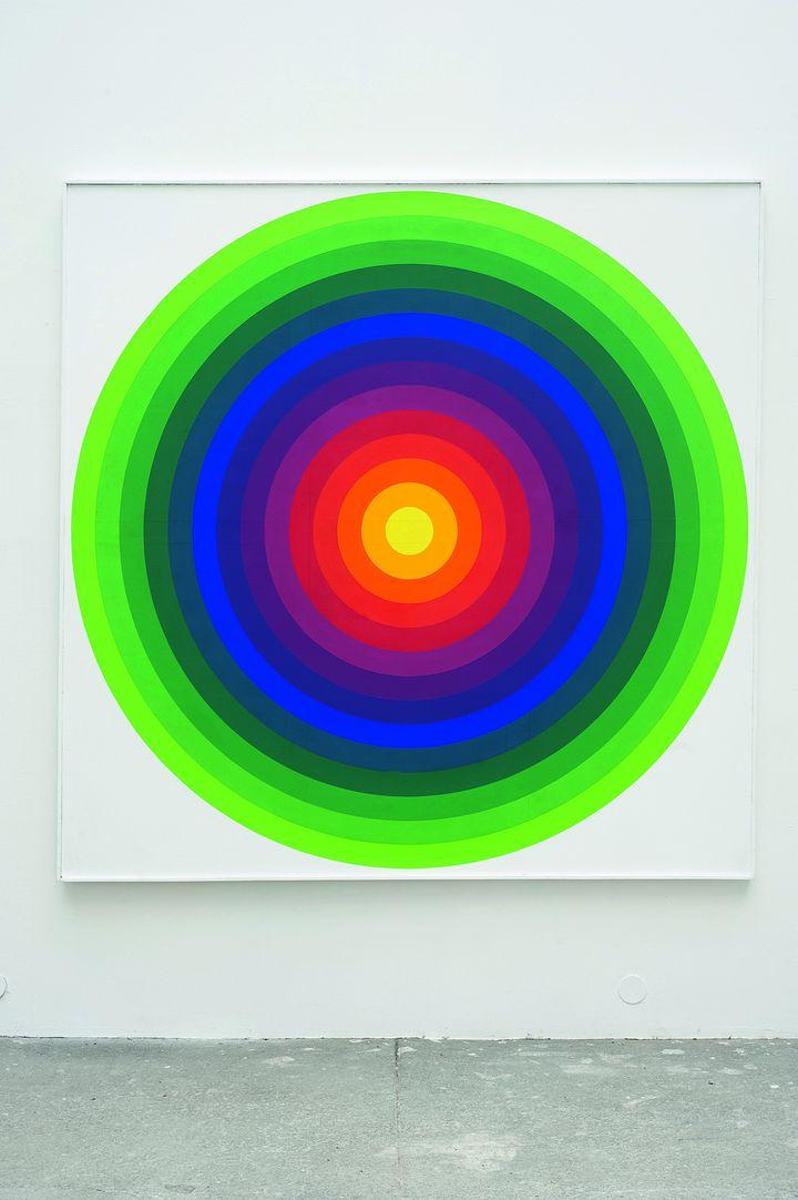 """Julio Le Parc, """"Surface couleur - série 14-2E"""", 1971. Acrylique sur toile. 200 x 200 cm. Collection particulière. (ADAGP, PARIS 2013 )"""