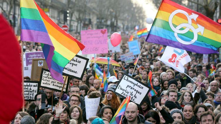 400 000 personnes ont manifesté dimanche 27 janvier 2013 à Paris pour soutenir le projet de loi ouvrant le mariage et l'adoption aux homosexuels, ont annoncé les organisateurs et la police parl de 125 000 participants. (THOMAS SAMSON / AFP)