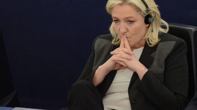 Marine Le Pen, au Parlement européen, à Strasbourg, le 11 mars 2015. (PATRICK SEEGER / MAXPPP)