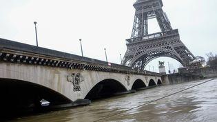 La Seine en crue, à Paris, mercredi 24 janvier 2018. (JULIEN MATTIA / SPUTNIK / AFP)