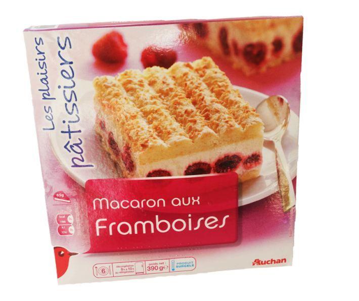 Les macarons aux framboises de la marque Auchan. (FOODWATCH)