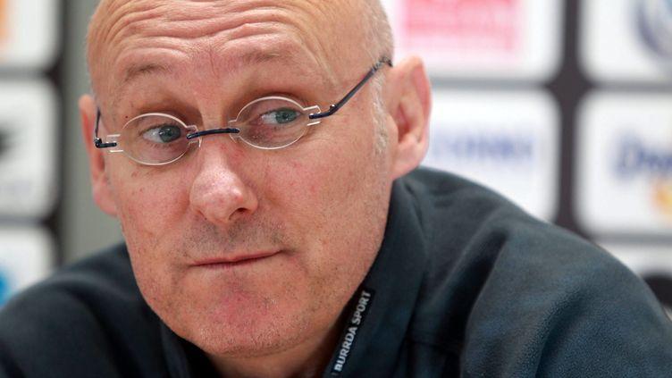 L'entraîneur de Toulon Bernard Laporte, le 20 février 2014, lors d'une conférence de presse, avant un match contre Bayonne, à Toulon (Var). (  MAXPPP)