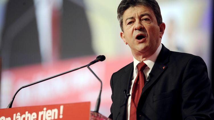 Le coprésident du Parti de gauche, Jean-Luc Mélenchon, le 24 mars 2013 à Bordeaux (Gironde). (JEAN-PIERRE MULLER / AFP)