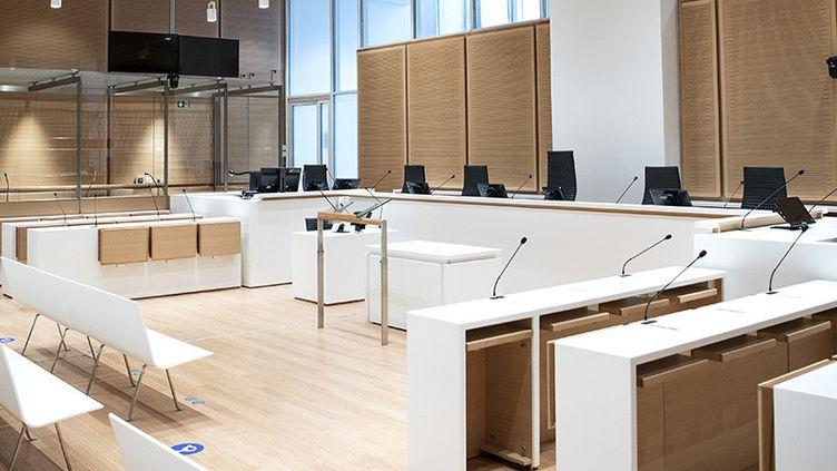 La salle d'audience du tribunal correctionnel de Paris, aux Batignolles, le 26 mars 2018 (illustration). (CHRISTOPHE ARCHAMBAULT / AFP)
