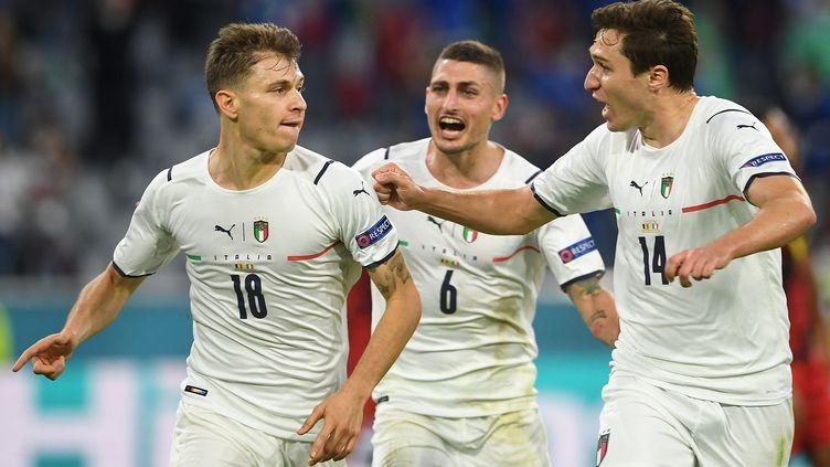 Nicolo Barella a marqué contre la Belgique, le 2 juillet 2021. (CHRISTOF STACHE / AFP)