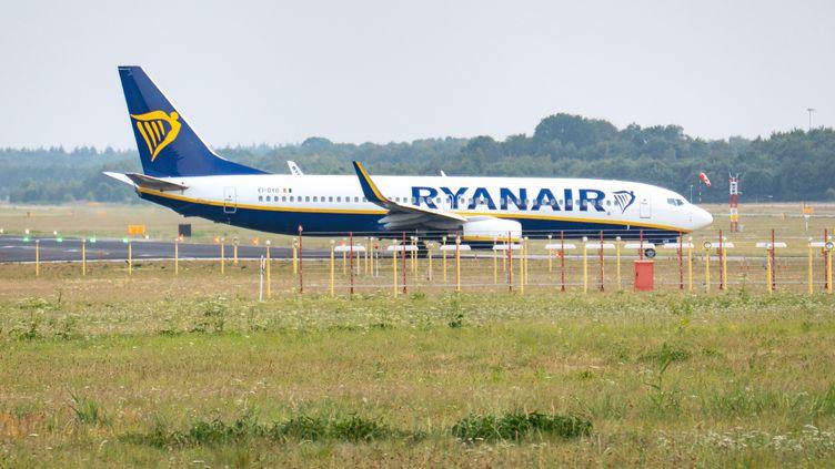 Un avion Ryanair àEindhoven aux Pays-Bas, le 25 juillet 2019. (NICOLAS ECONOMOU / NURPHOTO)