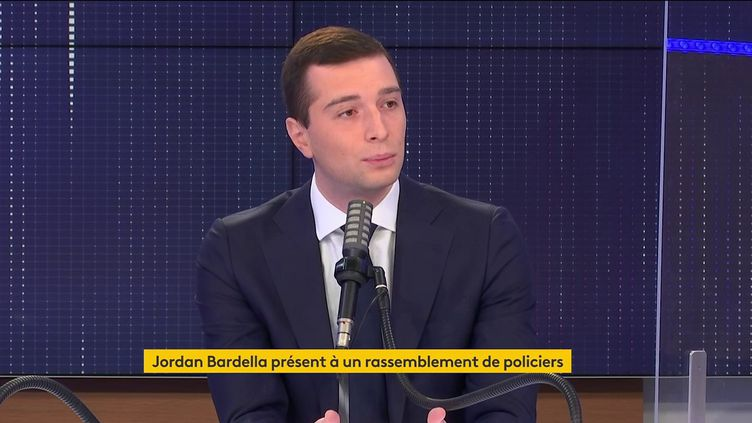 Jordan Bardella, vice-président du Rassemblement national, était l'invité de franceinfo le 20 mai 2021. (FRANCEINFO / RADIOFRANCE)