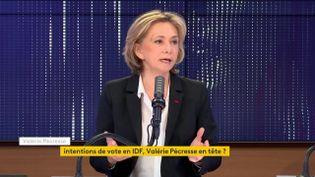Valérie Pécresse, le 12 avril 2021, sur franceinfo. (FRANCEINFO / RADIOFRANCE)