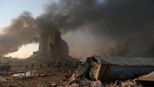 Le port de la capitale libanaise, Beyrouth, mardi 4 août 2020, après les explosions. (STR / AFP)