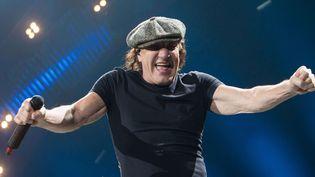 Brian Johnson d'AC/DC sur scène à Denver (Etats-Unis) le 8 février 2016.  ( Brandon Marshall/ REX /Shutterstock/Sipa)